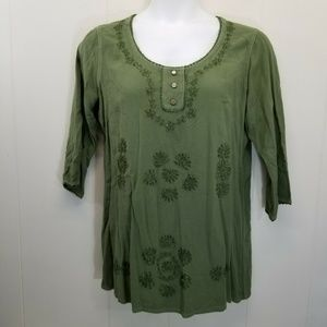 Soft Surroundings L Top Green Embroidered Tunic